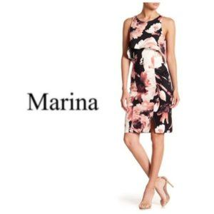 Marina Womens Floral Pop Over Sheath Dress Sz 14